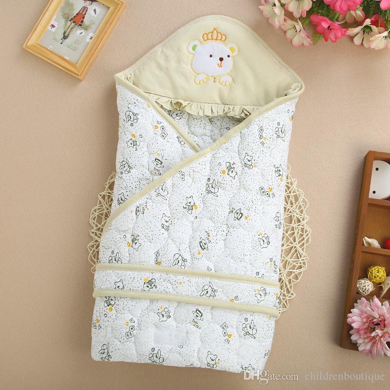 2018 новорожденный ребенок спальный мешок Осень Зима вышивка конверт для новорожденных пеленание Wrap Детская одежда хлопок одеяло Sleepsacks 4 цветов