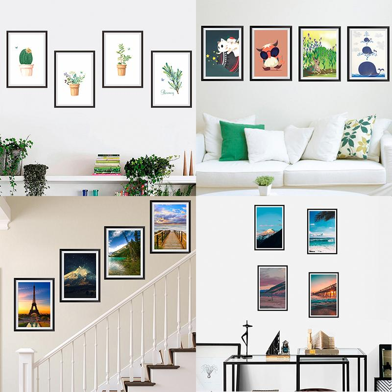 Landscape Photos Frame Decorative Wall Stickers Living Room Bedroom  Decorations Home DIY Decor Mural Wall PVC Art Modern Decals