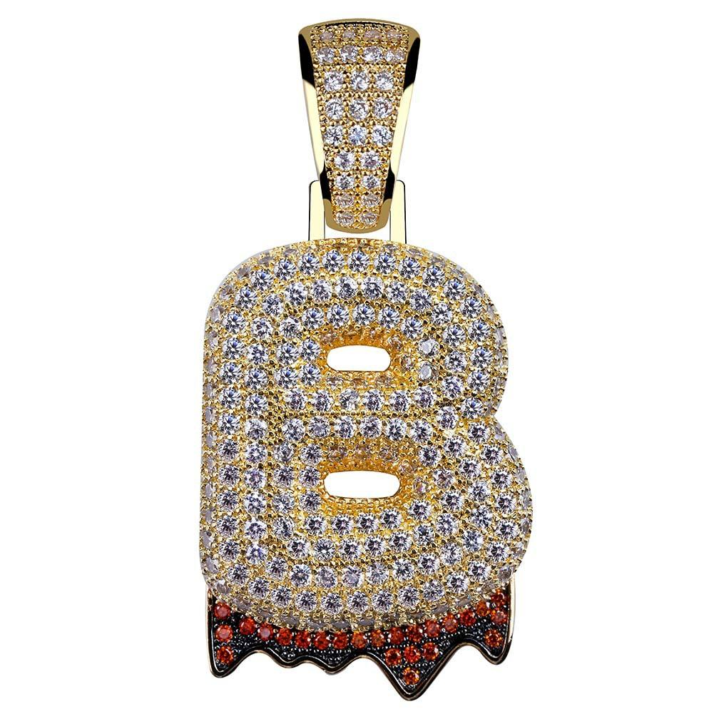 65f3f0f081eca2 Wholesale Big Size Bling Custom Bubble Letters Pendant Copper A Z Initial  Pendant Gold Silver Plated Charm Necklace Mens Pendant Necklace Photo  Pendant ...