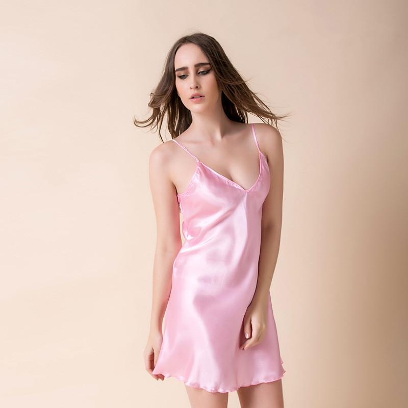 4a7ff7c0b6b 2019 2017 Women Sexy V Neck Adjustable Straps Sleeping Dress Soft Smooth  Artificial Silk Nightgown Women Nightdress Satin Sleepwear From Hognyeni