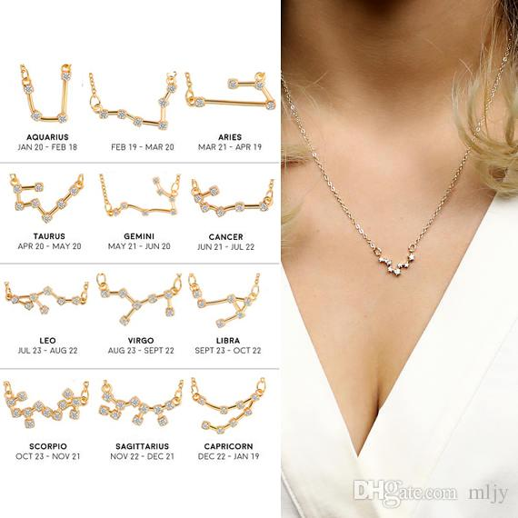 Wholesale Mljy 12 Constellation Pendants Necklace Gift For Women