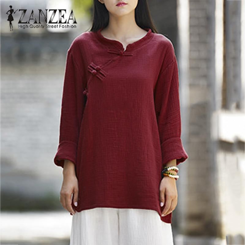 62afe8420eb2d ZANZEA Women Chinese Style Cotton Linen Buttons Long Sleeve Autumn Casual  Solid Blouse Loose Vintage Shirt Blusas Plus Size