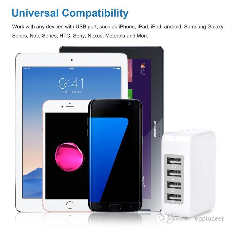 3.1A 15W de alta velocidad de 4 puertos cargador de pared USB cargador de viaje portátil adaptador de corriente con enchufe plegable para iPhone 7 6s Plus iPad teléfono Android