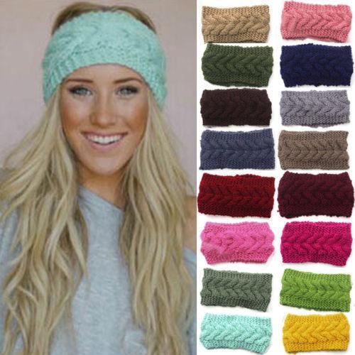 1шт женщин аксессуары для волос мягкий крючком оголовье вязать цветок Hairband уха теплая зима Headwrap наушники мода
