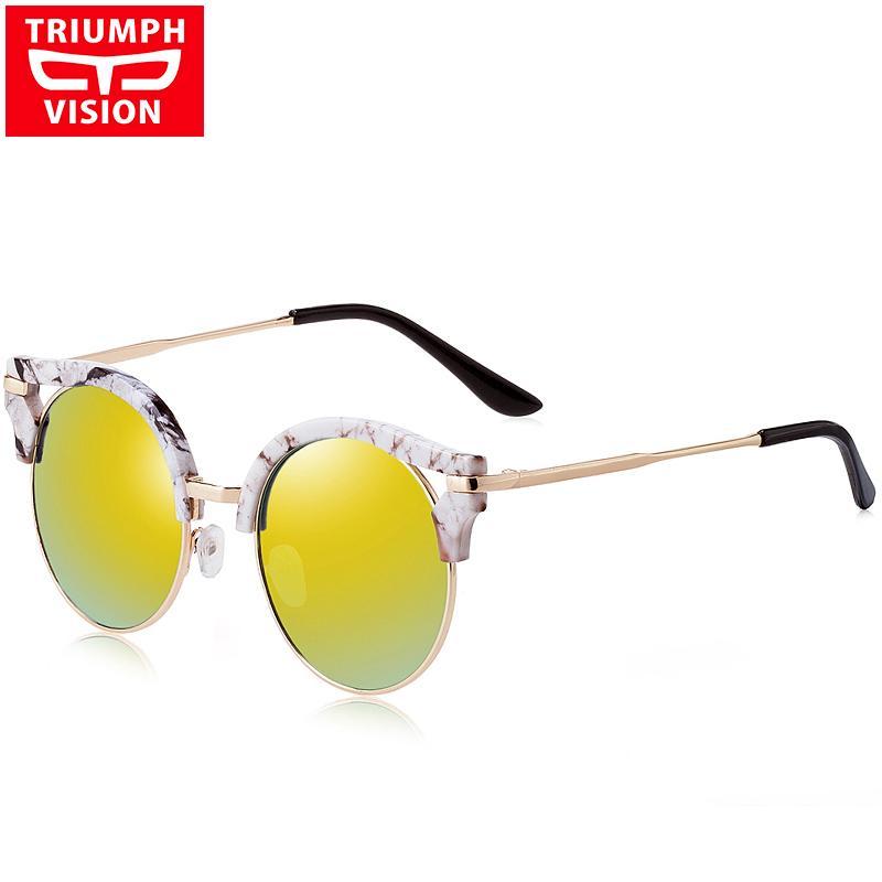 fe66dc310b3a1 Compre TRIUMPH VISION Moda Cat Eye Gafas De Sol Mujer Púrpura Rojo Espejo  Gafas De Sol De Las Mujeres Para Las Mujeres Estilo Retro Shades Marca  Oculos A ...