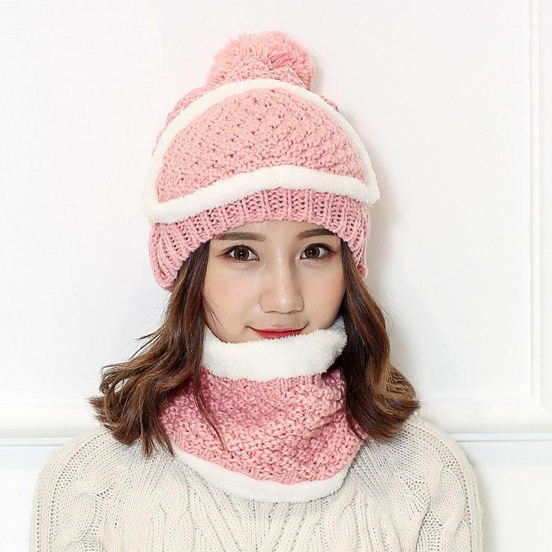 2019 New Women Winter Thick Warm Bib Mask Cap Set Wild Ridding ... f7a90e107ce0