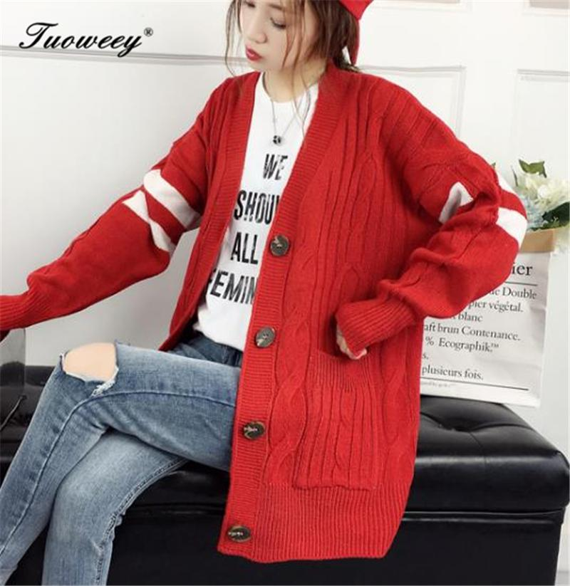 2019 High Quality Fall And Winter Cardigan Sweater Knitted Cotton Patchwork Retro Pocket Fashion Leisure Cardigan Women Women's Clothing