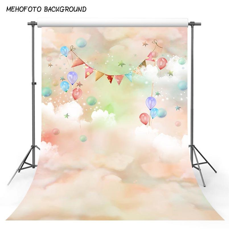 hoto Studio Backgrounds Vinyl Photography Background Dreanland Clouds Colorful Balloons Baby Birthday Newborn Children Backdrops for Phot...