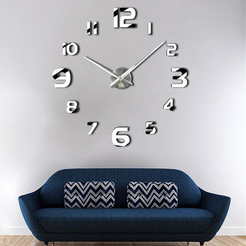 Großhandel Große Uhr Hände 3D Wanduhr Wohnzimmer Dekor Spiegel ...