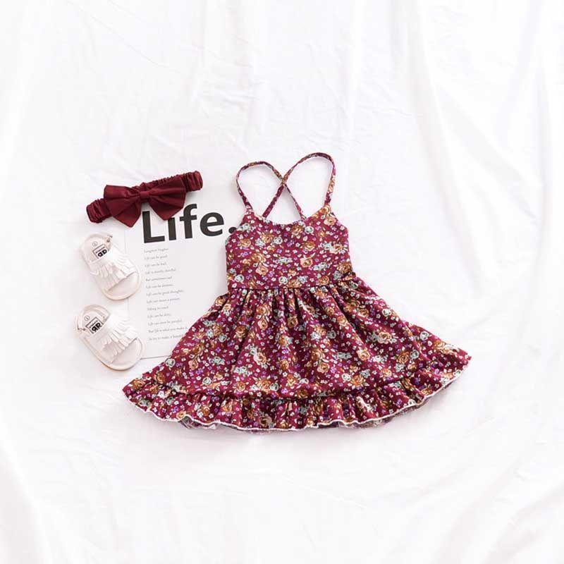 Vintage Style Braces Skirt Baby Girls Vest Skirt Backless Sleeveless Floral Dresses Summer Cotton Knee-length 1-4T