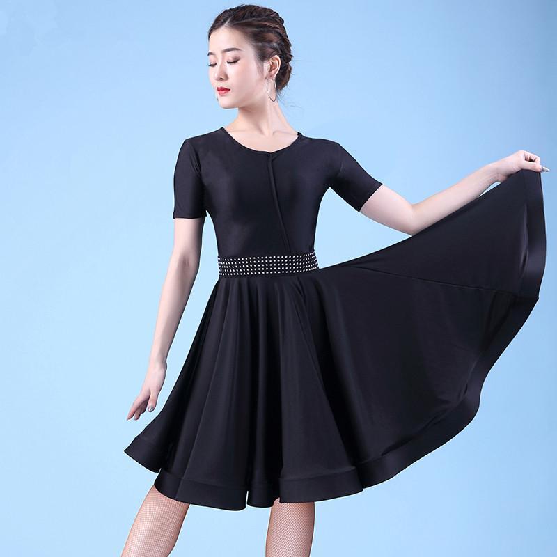 9aa0208ca28 Acheter Lait Noir En Soie Costumes De Danse Compétition Robe Salsa  Vêtements De Danse Tango Vêtements Femmes Robes De Danse De Salon Pour Femme  Latin De ...