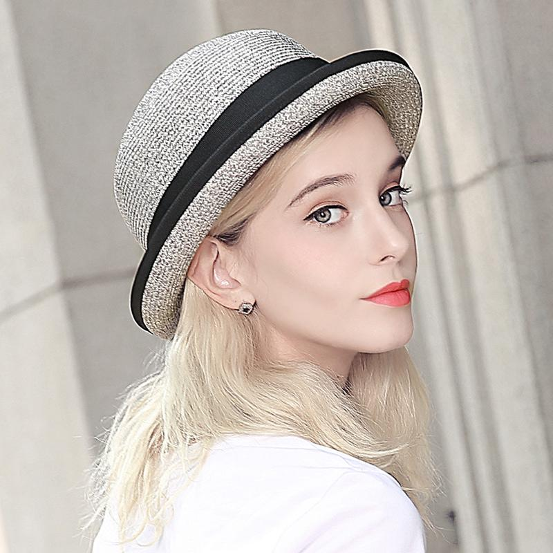 Fashion Women Sunscreen Sun Hat Dome Crimping Small Hat Outdoor