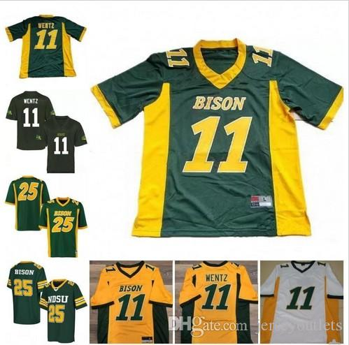 wholesale dealer ca5ae f34a6 2018 NCAA NDSU Bison 11 Carson Wentz Mens Youth Womens Yellow Gold Green  White Stitched North Dakota State College Football Jerseys S-3XL
