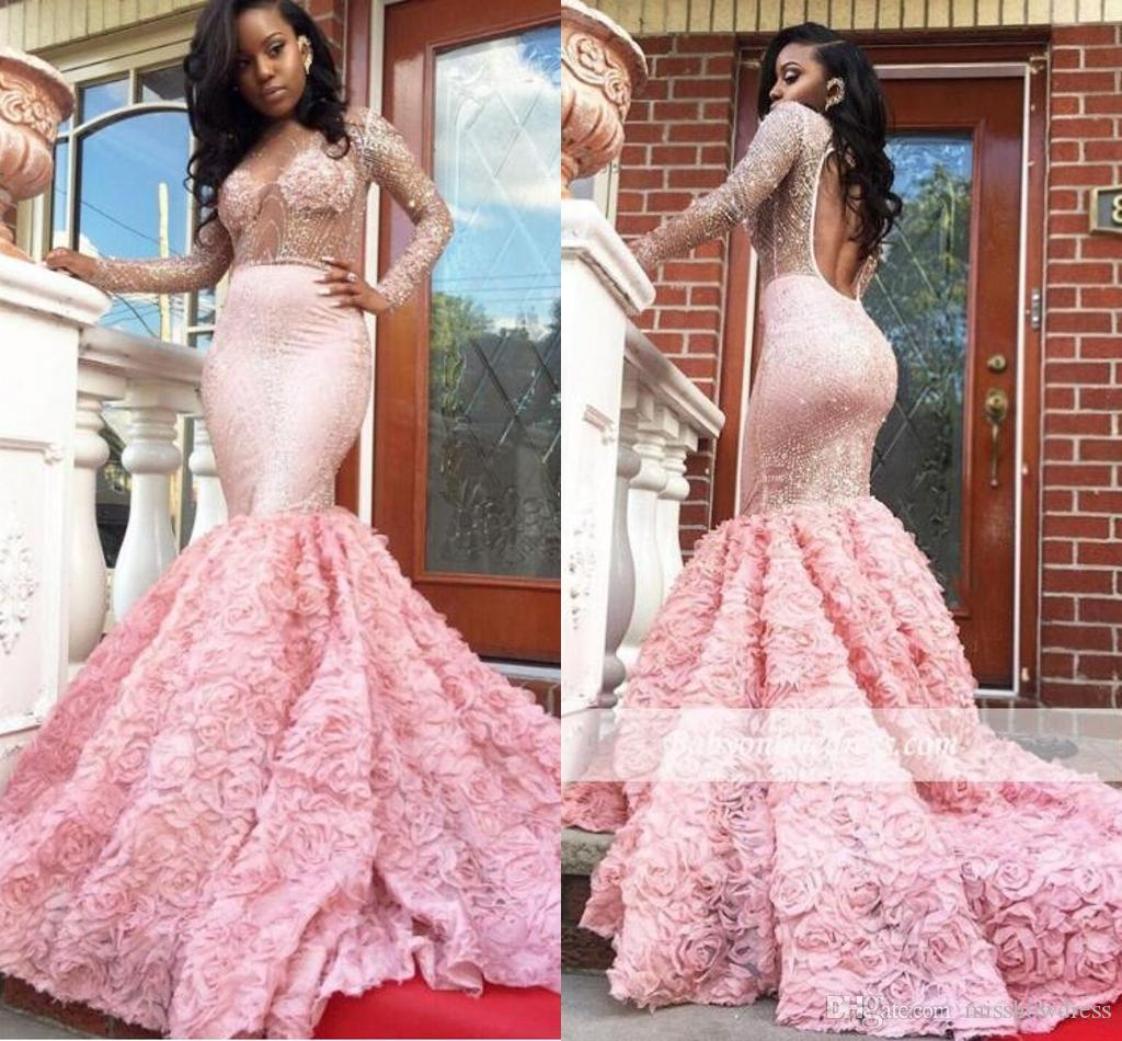 Prom Dresses 2018 Sexy Elegant Sheer Jewel Neck Mermaid Evening ...