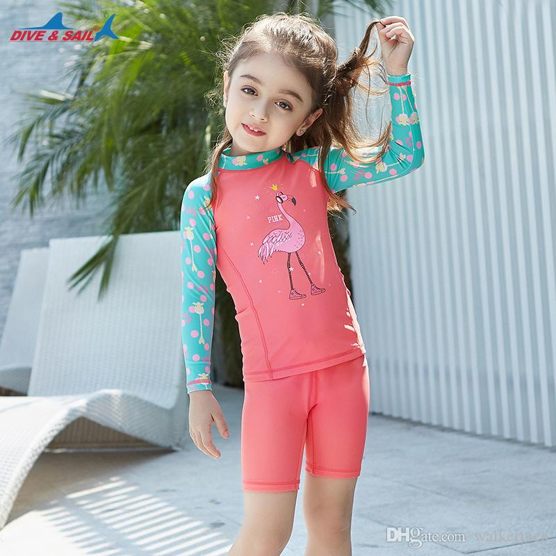 90041b7b3b Boys Swimsuit Long Sleeve Two Pieces Suit Shirts+Trunks Kids Swim ...