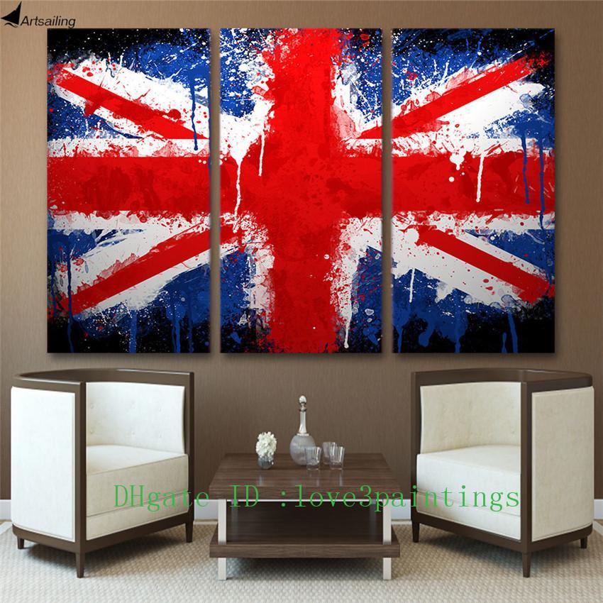 Satın Al Union Jack Ingiltere Bayrağı 3 Parça Ev Dekorasyonu Hd