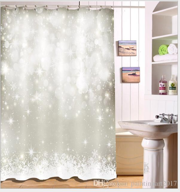 2018 Silver Snowflake Pattern 3D Print Custom Waterproof Bathroom Modern Shower Curtain Polyester Fabric Door Mat Sets From Paintingart2017