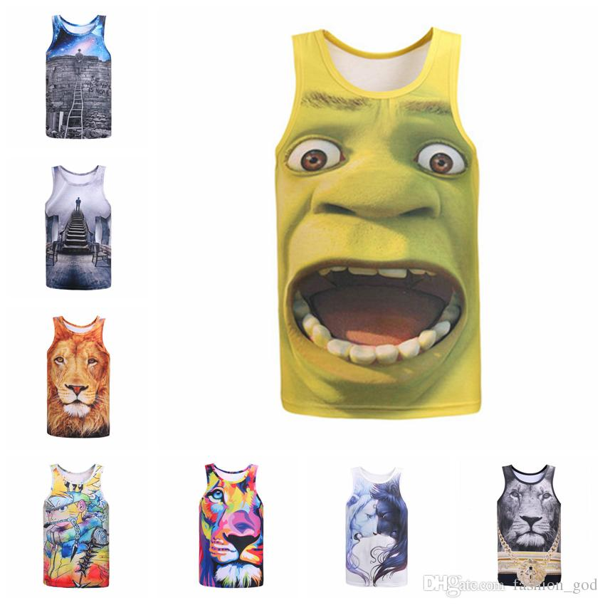 842fc6f55e657 Men T Shirt 3D Print Vest Funny Fitness Shirts Summer Workout Sports Tank  Tops Men Slim Running Tops Fashion Button Leisure Tees YFA173 Nerd T Shirts  Design ...