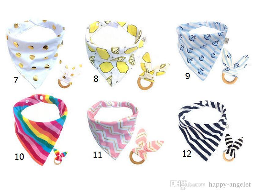 Baby Cotton Triangle Bib burp & Teethers set Bandana kerchief infant Saliva Bibs Pinafore Apron Wooden Chews Teeth Practice Toys YE014