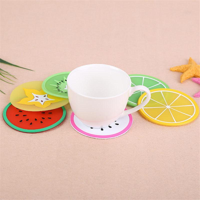 100% Brand new Coaster Fruit Shape Silicone Cup Pad Slip Insulation Pad Cup Mat Hot Drink Holder