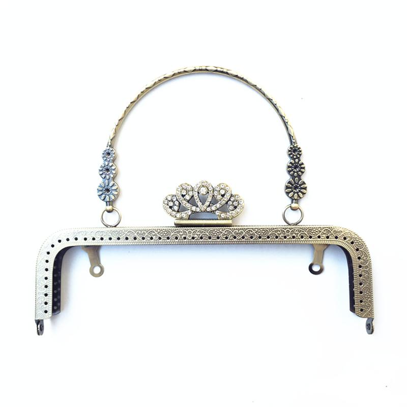 10Pcs Clear Rhinestone Crown Flowers Clutch Coins Purse Arc Frame Kiss Clasp Handbag Handle Antique Bronze Tone 20cm