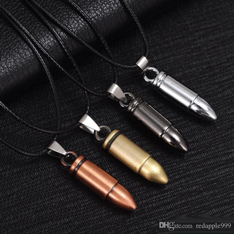 Los hombres de titanio de acero collares Bullet colgante de cuero collar de cadena joyería de las mujeres