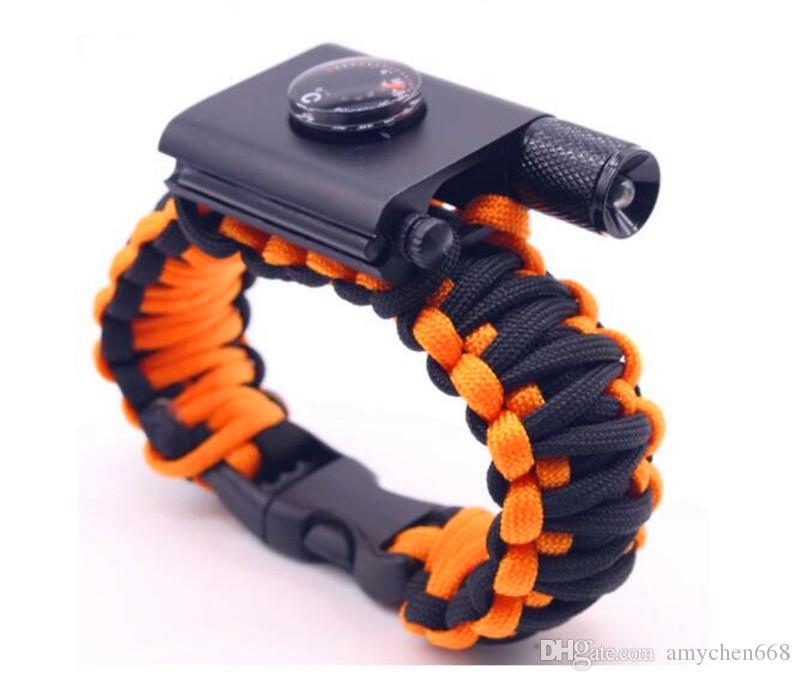 Free DHL Outdoor Camping Hiking Survival Bracelet Self-rescue Paracord Parachute Cord Bracelets Survival bracelet Camping Travel Add LED