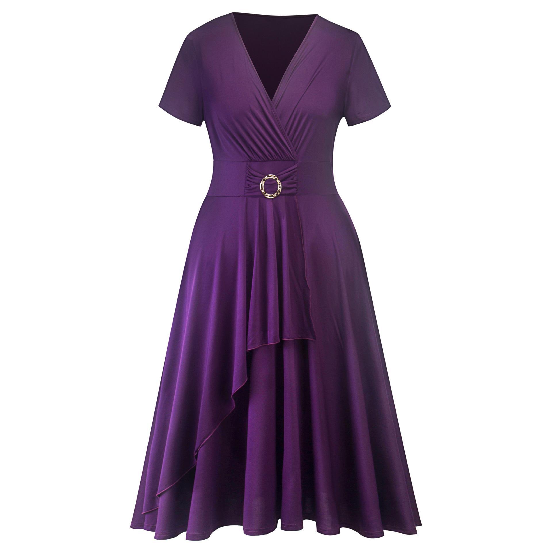 05d03469323 Compre Vestidos Elegantes Para Mujer BARATO Tallas Grandes Vestidos Mediana  Edad Mujeres Moda Fes Negro Púrpura Con Botón Cintura A  24.63 Del Sarmit  ...