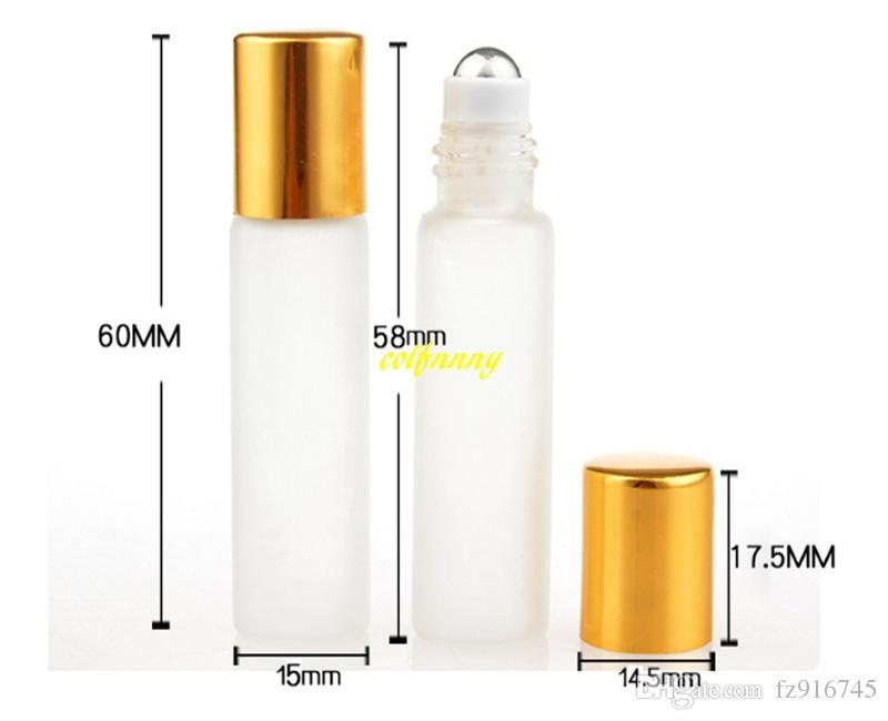 20 unids / lote 15 * 60mm Tamaño 5 ML Vidrio Esmerilado Rollo De Aceite Esencial botella de Perfume Vacía Bola de Rodillo de Acero Inoxidable Rellenable