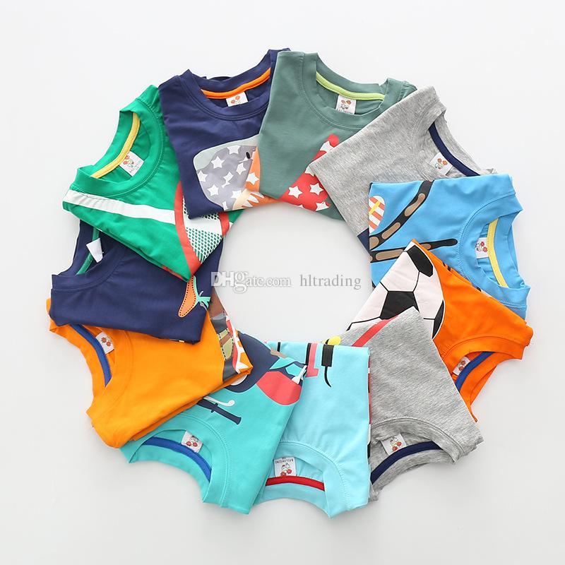 Bebé animal de dibujos animados Camisetas niños niños Coche plano imprimir tops 2018 verano Tees Boutique niños Ropa es C4047