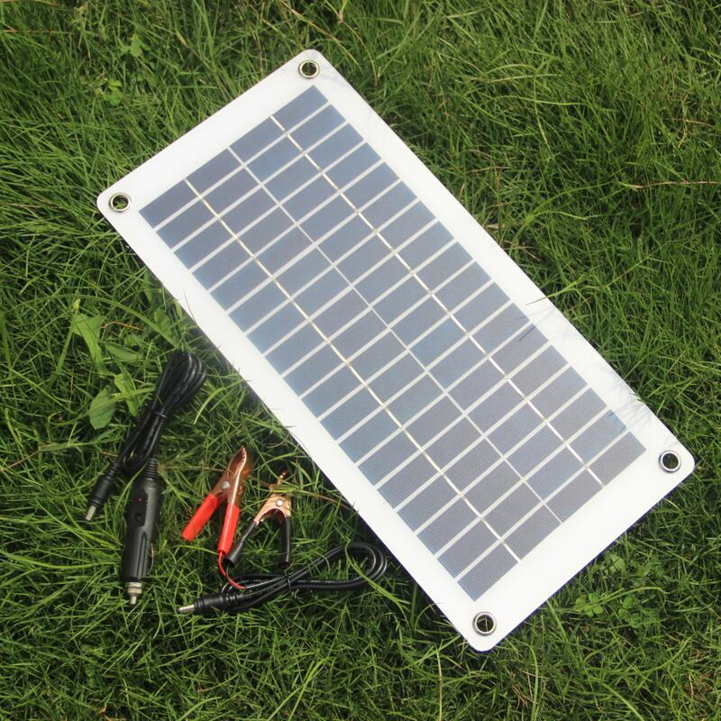 Free Shipping Semi-flexible 10W 18V 12V Portable Solar Panel Charger with DC 5521 Cable For 12V Car Boat Motor Battery Charger