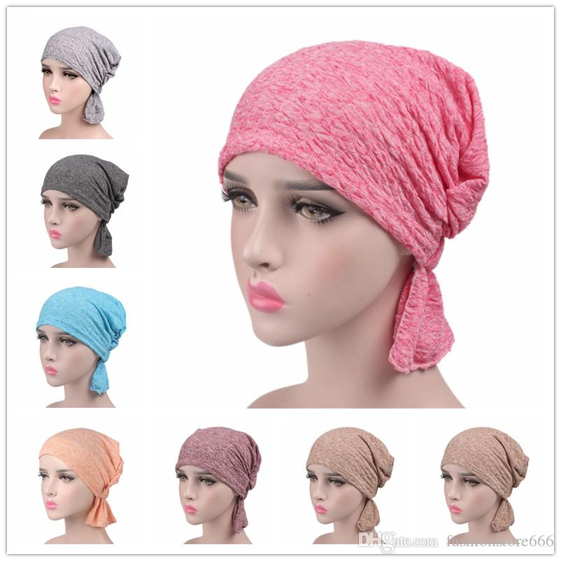 2018 New Women Cotton Scarf Cap Chemo Hat Summer Beanies Stretchy