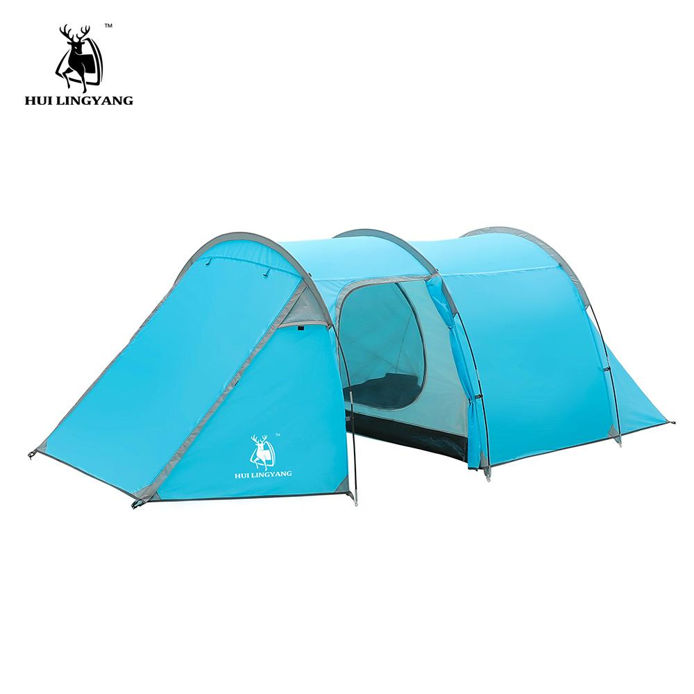 3475cb66720e Camping Tent Waterproof 3 4 Person Double Layer Tunnel Tent Outdoor Camping  Hiking Climbing Ultralight Large Space Beach Tents Best Family Tent Large  Family ...