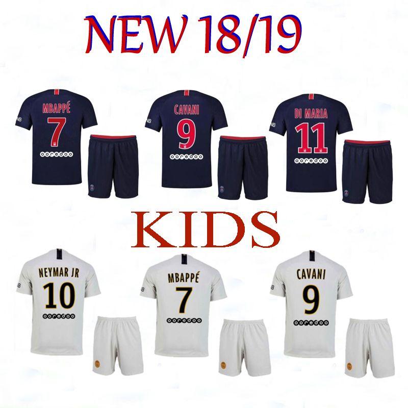 Compre NEW 2018 KIDS MBAPPE 7   Camisa De Futebol 18 19 Paris Fora Branco  CAVANI DI MARIA 2019 PSG Camisas De Futebol Survetement Maillot De Pé  Uniforme De ... 9a3265b1da16a