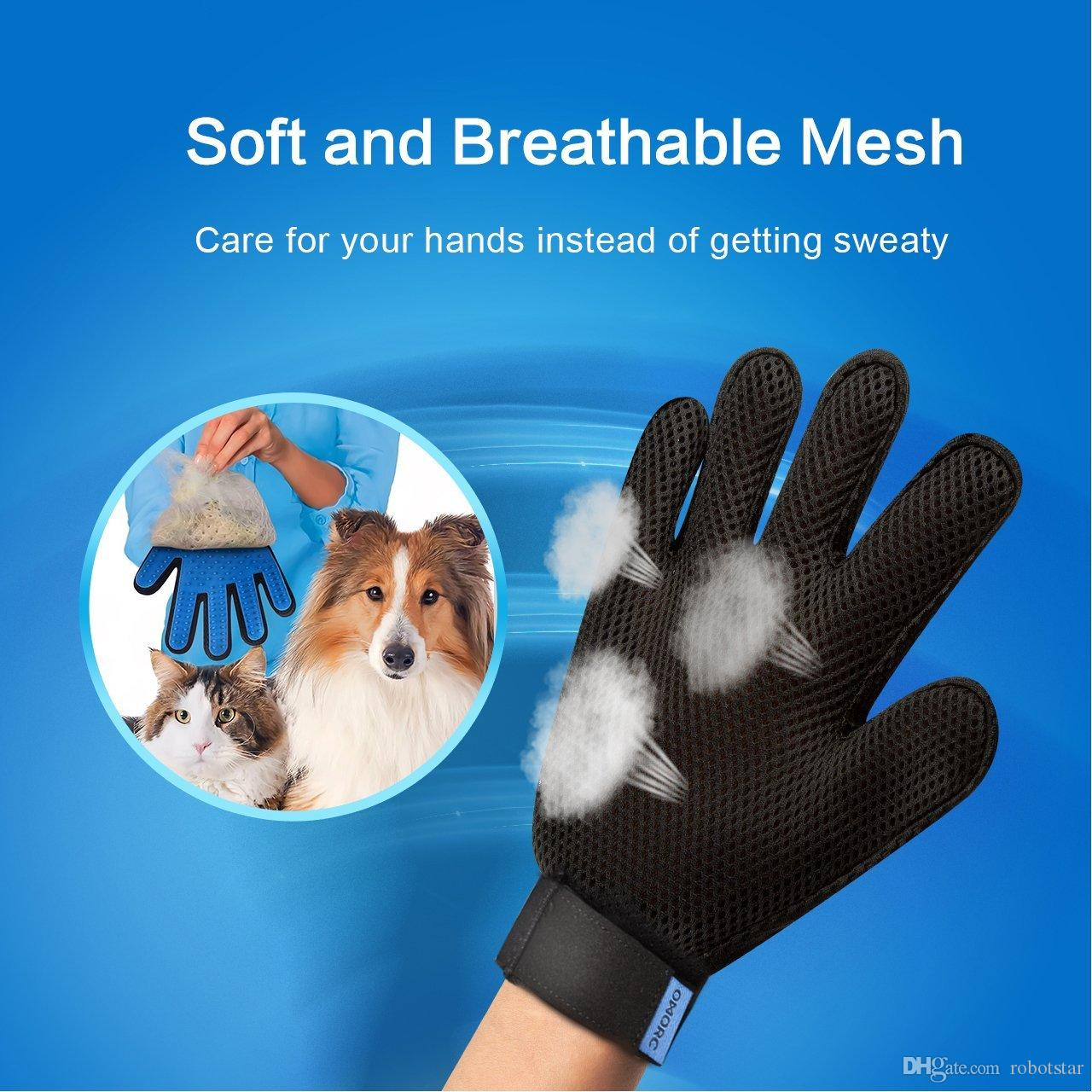 Pet Grooming Glove Gentle De-shedding Brush Glove Efficient Pet Hair Remover Mitt Massage Tool with Enhanced Five Finger Design Right hand