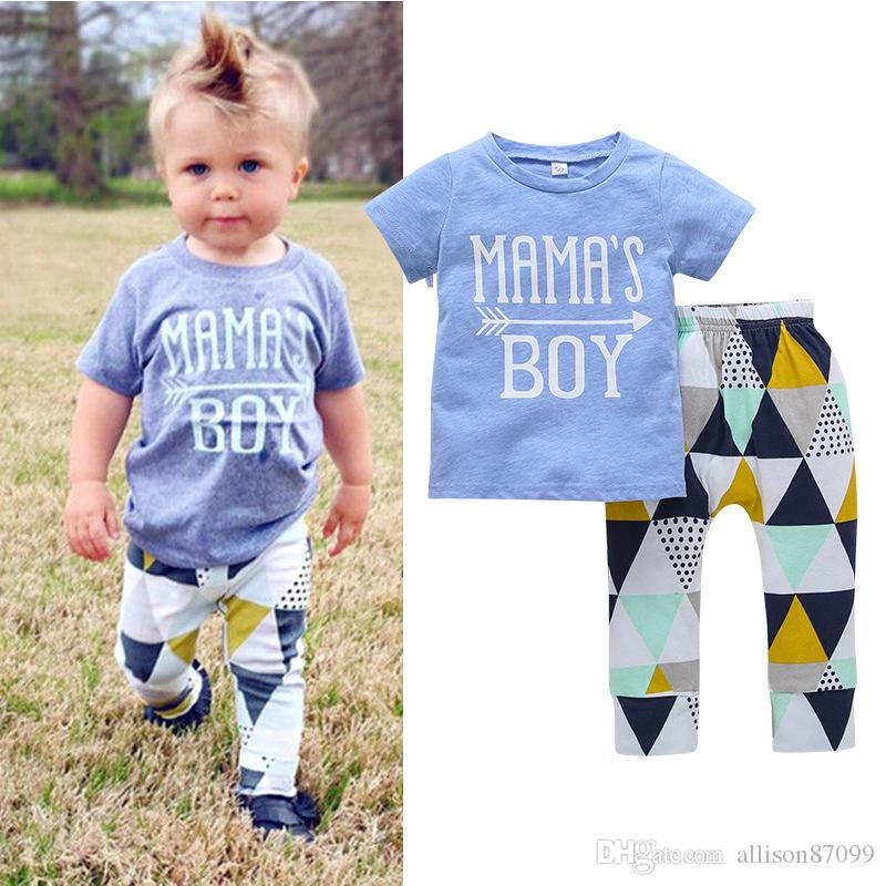 52f0fd677 2019 MAMAS BOY Summer Baby Clothing Outfit Geometric Toddler Clothes ...