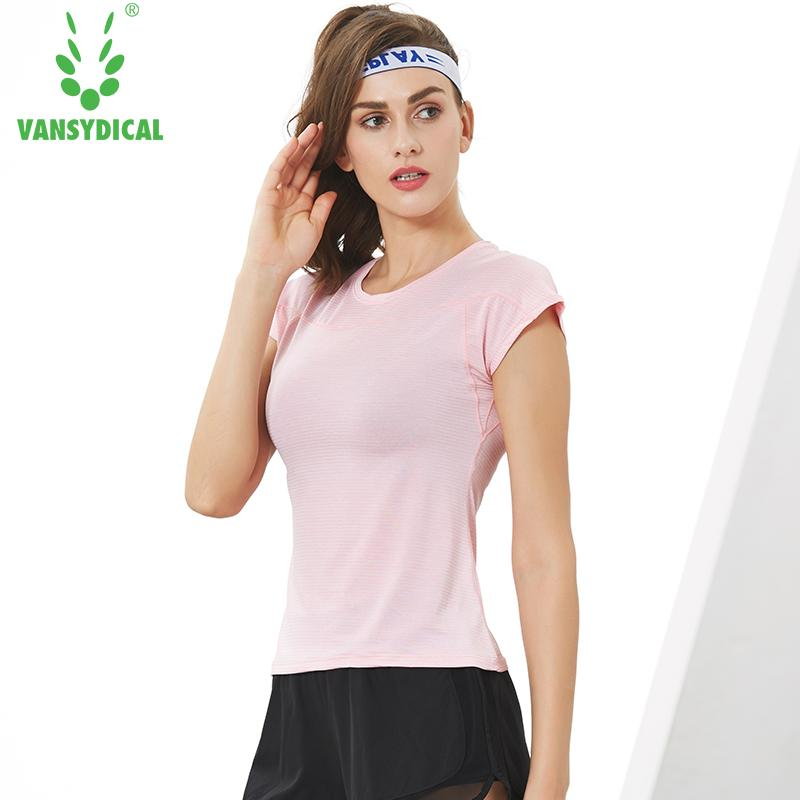 607d9b6e0d275 Vansydical Women Sports Running T-shirts Gym Yoga Shirts Sexy Tops Short  Sleeve Elastic Slim Fitness Workout Jogging Sportswear Yoga Shirts Cheap  Yoga ...