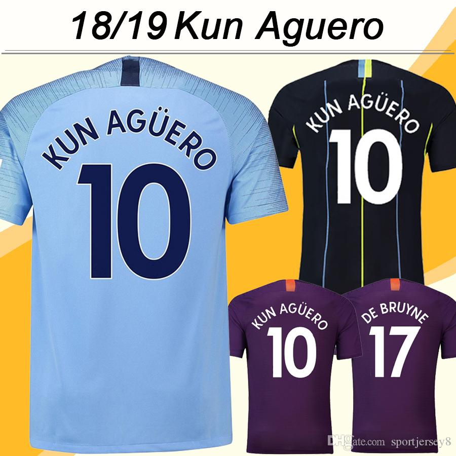2018 19 KUN AGUERO DE BRUYNE Soccer Jerseys STERLING SILVA Home Away 3rd Mens  Football Shirts Top Quality G.JESUS SANE Short Uniforms UK 2019 From ... c15b08f19