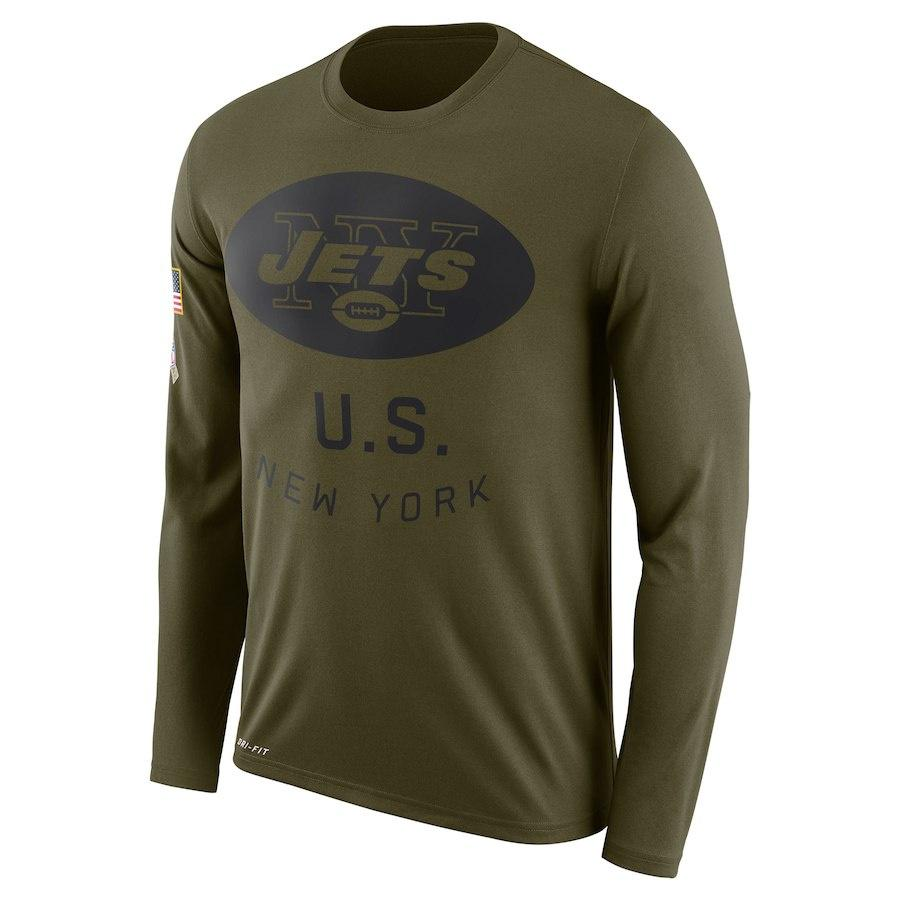 7c89710d779c1 New York MEN WOMEN Jets Salute to Service Sideline Legend Performance Long  Sleeve T-Shirt Olive Online with  25.15 Piece on Tophotnewseven s Store