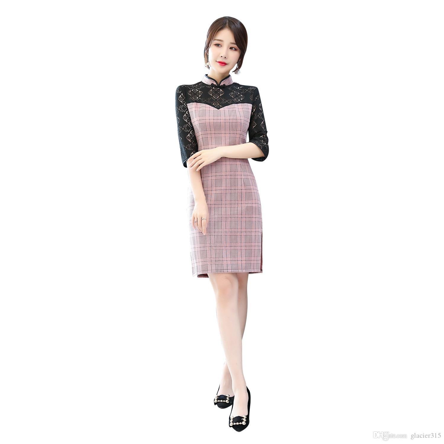 7112ebe497 Shanghai Story Plaid Chinese Women s Dress Lace Sleeve Cheongsam Dress Half  Sleeve Suede Qipao Dress For Woman