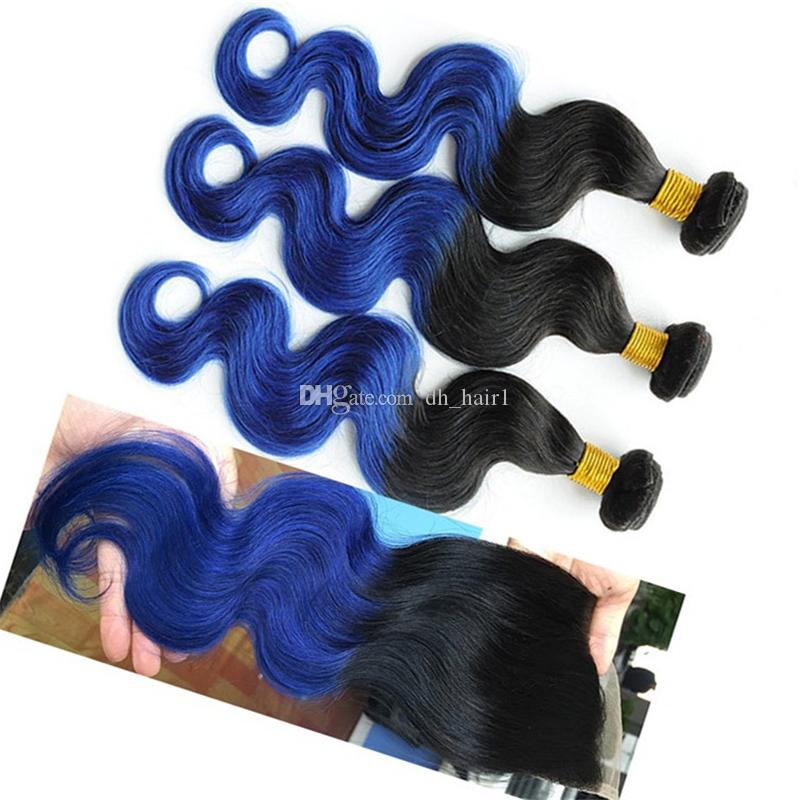 Black to Blue Ombre Body Wave Hair Bundles with Lace Closure 1B Blue Ombre Brazilian Human Hair Weaves with Top Closure