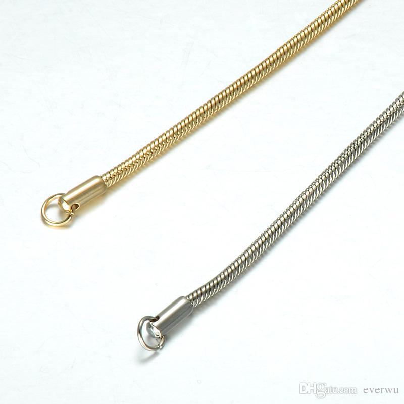 Regalo del braccialetto del braccialetto placcato oro del serpente dell'acciaio inossidabile monili del braccialetto Chain Man Donne Colore Argento Titanio Acciaio link rotonda della catena del serpente