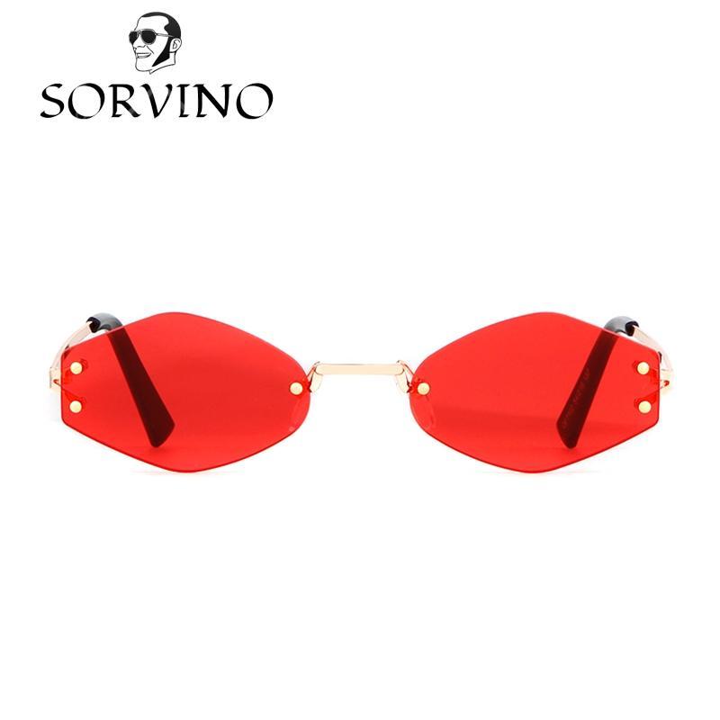 06feb4bba2912 Compre SORVINO 90 S Retro Irregular Rhombic Óculos De Sol Das Mulheres  Designer De Marca 2018 Vermelho Vermelho Amarelo Vintage Óculos De Sol  Shades De ...