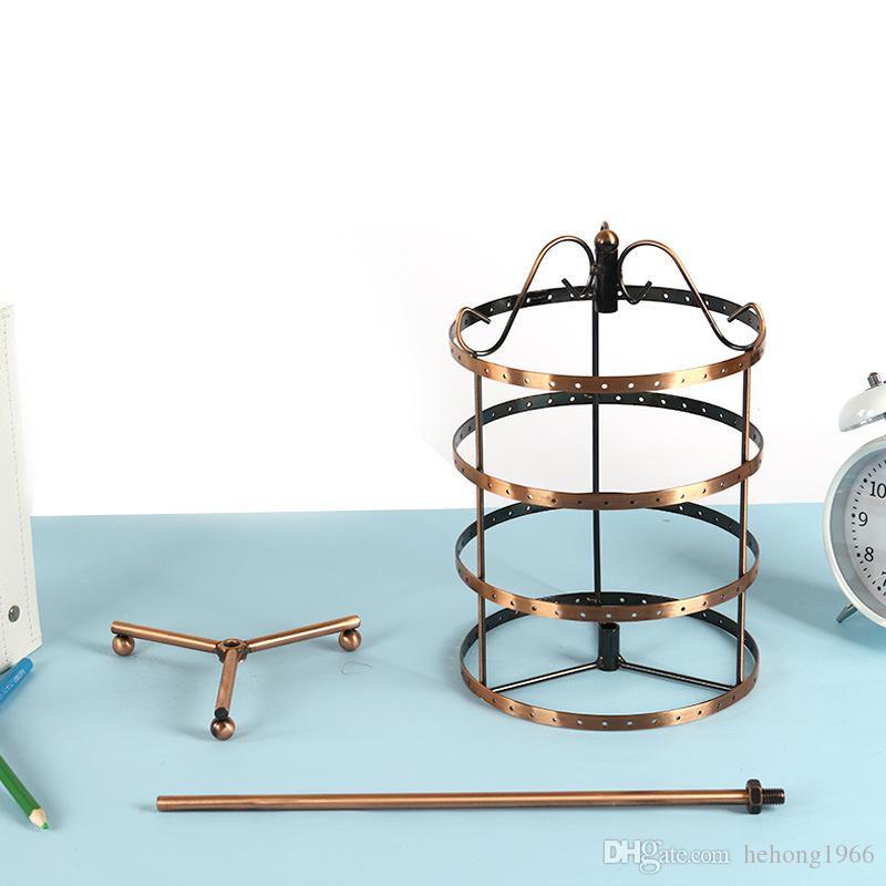 Retro bronzo rotondo forato piastra metallica orecchino rotante supporto del basamento gioielli Display Hanger 128 fori 30cm altezza alta qualità 21md Z