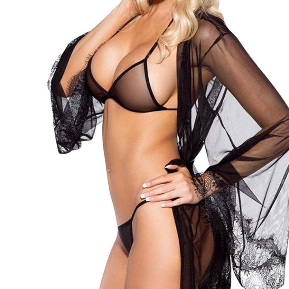 f2eeb5b39 2019 2018 New Sexy Bra Set Transparent Mesh Halter Top Bra Bralette G String  Erotic Lingerie Set Women Black Underwear Plus Size From Gingerliu