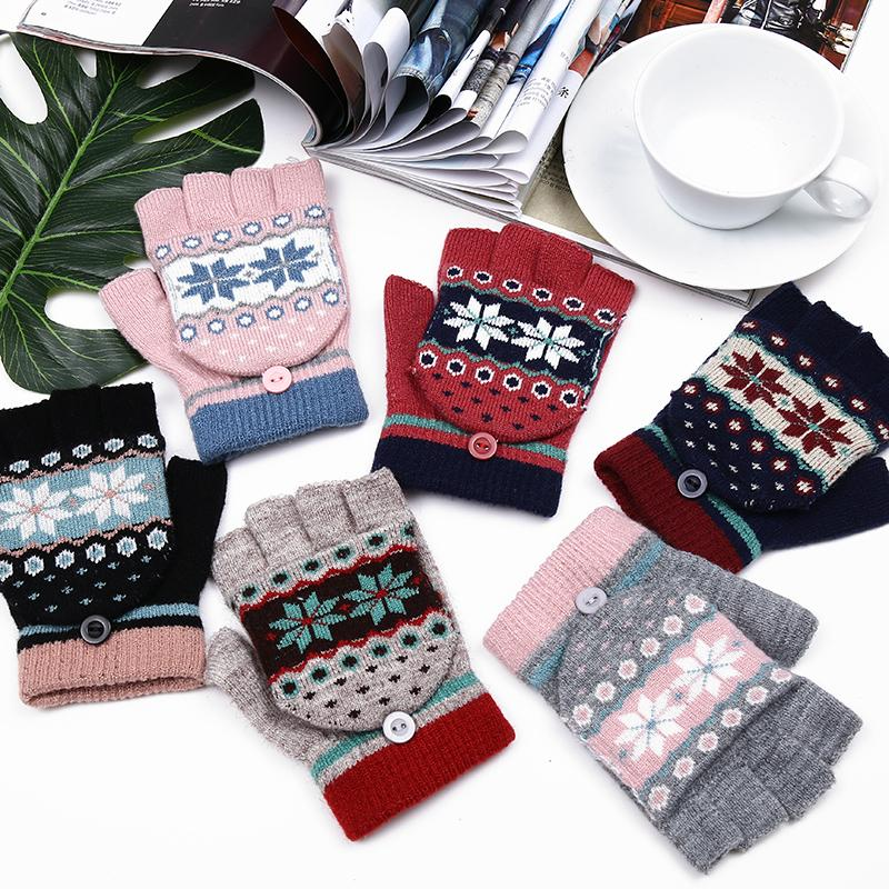 2017 NEW Fashion Winter Women Fingerless Gloves Multifunctional Cute Warm Patchwork Mittens Gift for Students Girl Friend S1025