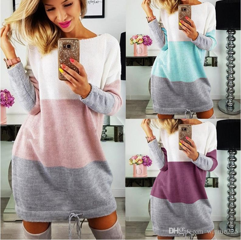 1be87ae10d 2019 2018 Lace Up Sheath Sweater Dress Contrast Color Striped Women Spring  Autumn Winter Long Sleeve Mini Knitted Boycon Dress From Winnie225