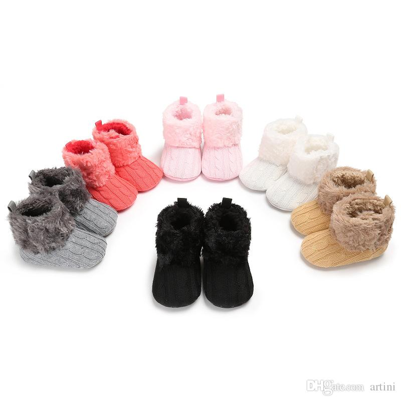 Newborn Baby Winter Snow Boots Infant Plush Winter Shoes Infant Crochet Knit Fleece Baby Shoes 6 Styles Free Shipping G140Q