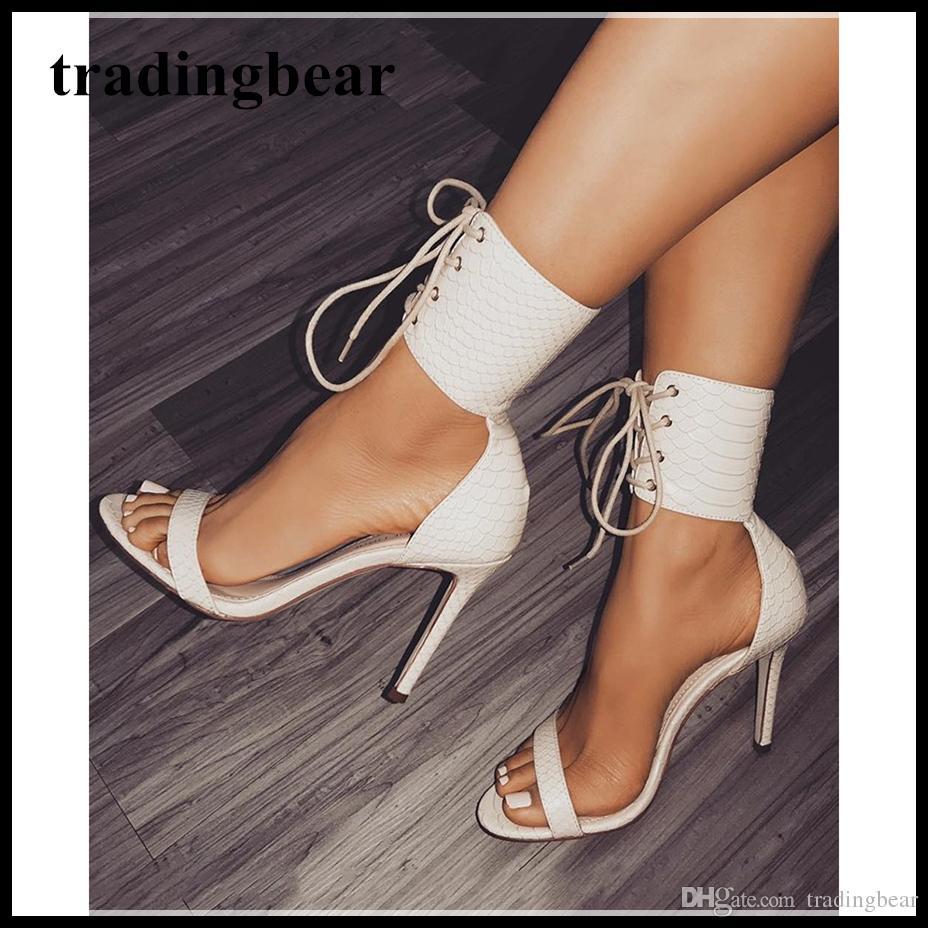 19 Con 35 Zapatos Abiertos 2018 Alto Cuero Cordones Del A 40 Correa De Tamaño 31 Negro Zapatos Nuevo Blanco PU LA De De Compre A Tacón De Sexy De Tobillo qYXwtgYf