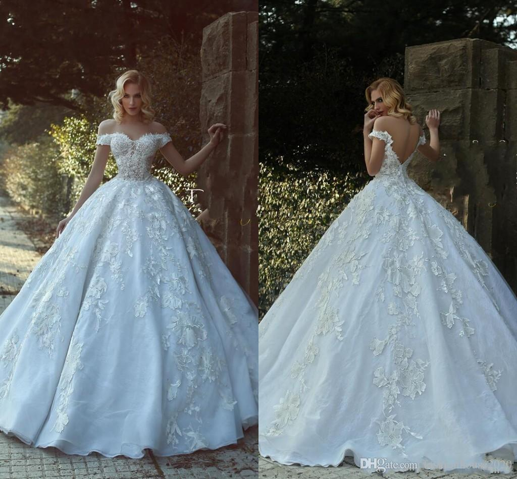 0b5c04a51052 2018 Arabic Dubai Ball Gown Wedding Dresses Off Shoulder Cap Sleeves Lace  3D Floral Appliques V Back Long Illusion Plus Size Bridal Gowns White Ball  Gown ...